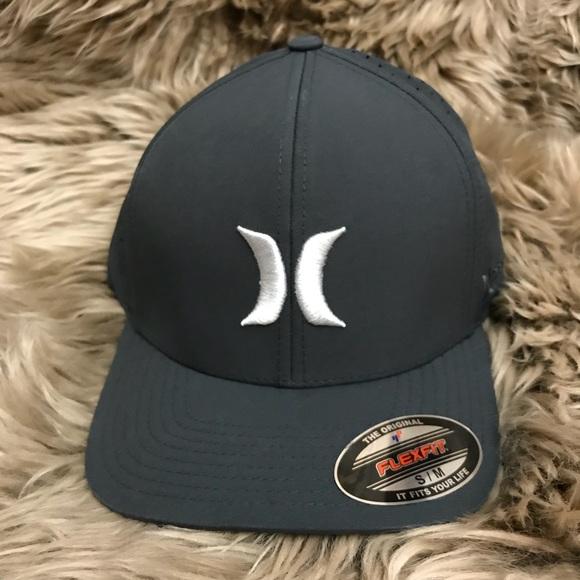 L//XL HURLEY Dri-Fit Phantom Vapor 2.0 Flexfit hat cap Black Blue Grey  sz S//M